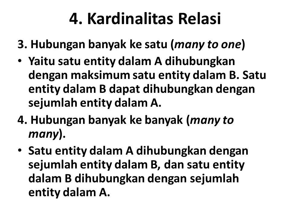 4. Kardinalitas Relasi 3. Hubungan banyak ke satu (many to one)