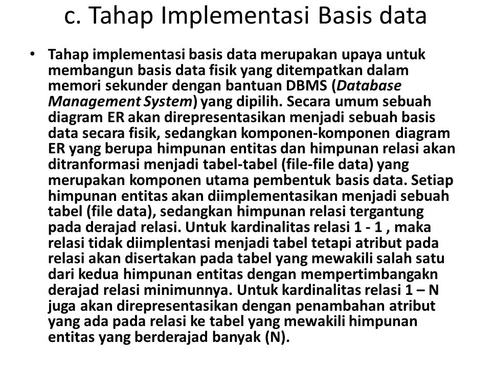 c. Tahap Implementasi Basis data