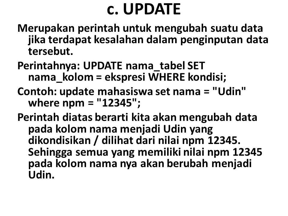 c. UPDATE