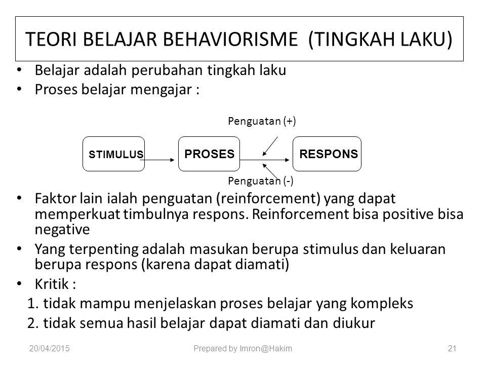 TEORI BELAJAR BEHAVIORISME (TINGKAH LAKU)