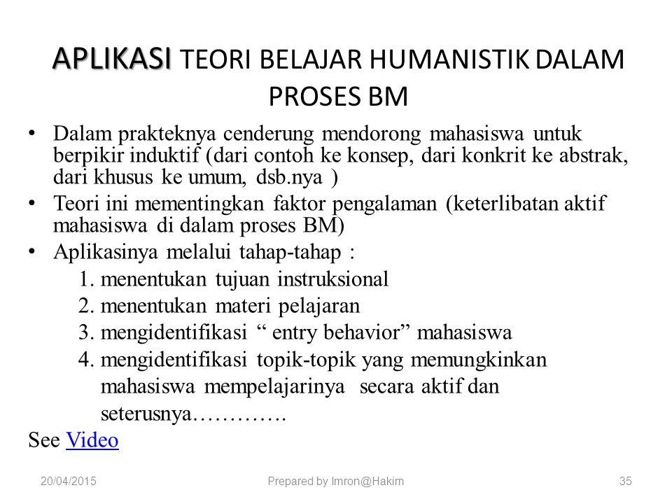 APLIKASI TEORI BELAJAR HUMANISTIK DALAM PROSES BM