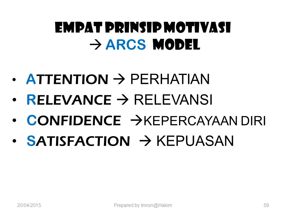 Empat Prinsip Motivasi  ARCS MODEL