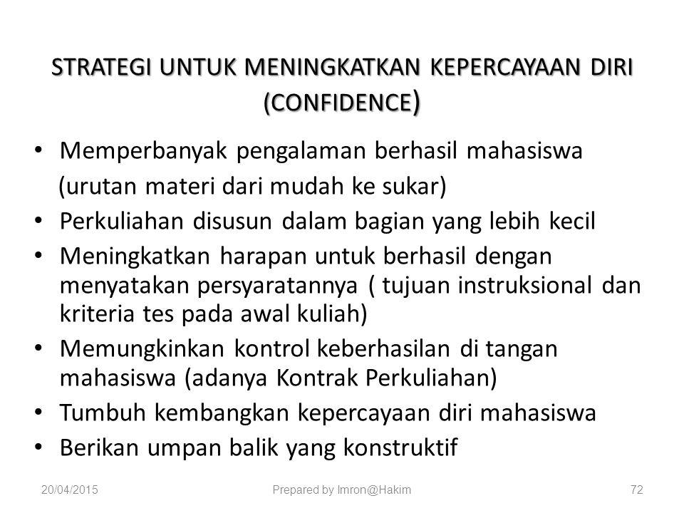 STRATEGI UNTUK MENINGKATKAN KEPERCAYAAN DIRI (CONFIDENCE)