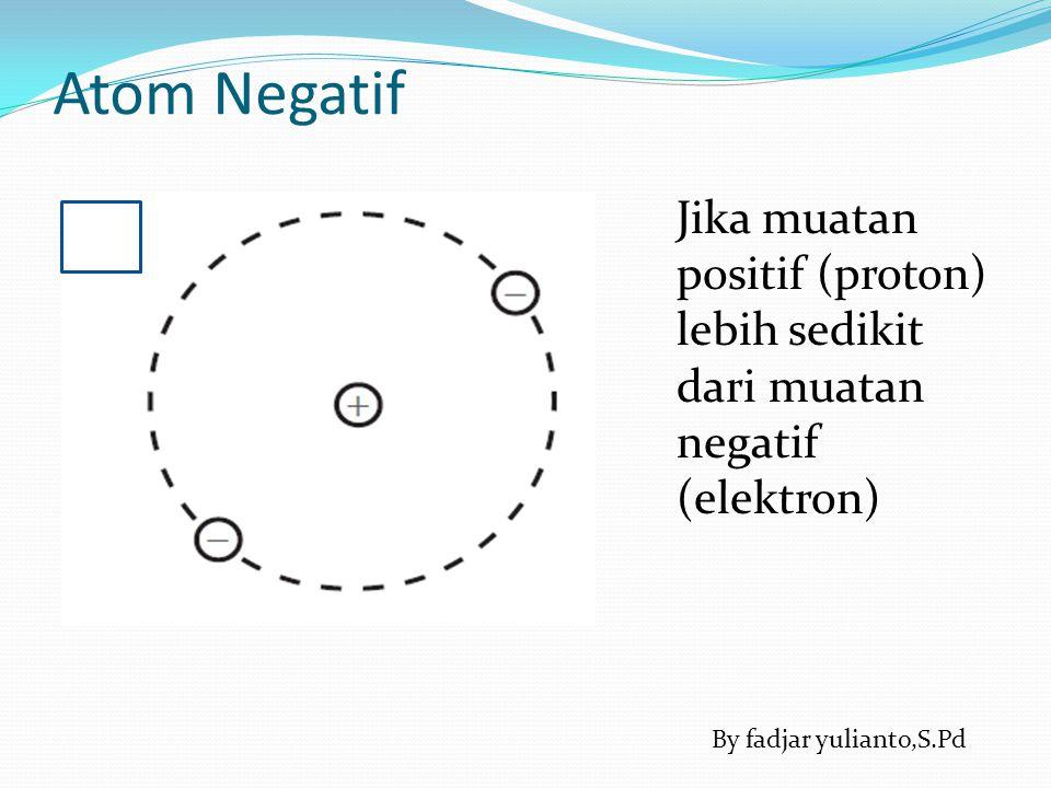Atom Negatif Jika muatan positif (proton) lebih sedikit dari muatan negatif (elektron) By fadjar yulianto,S.Pd.