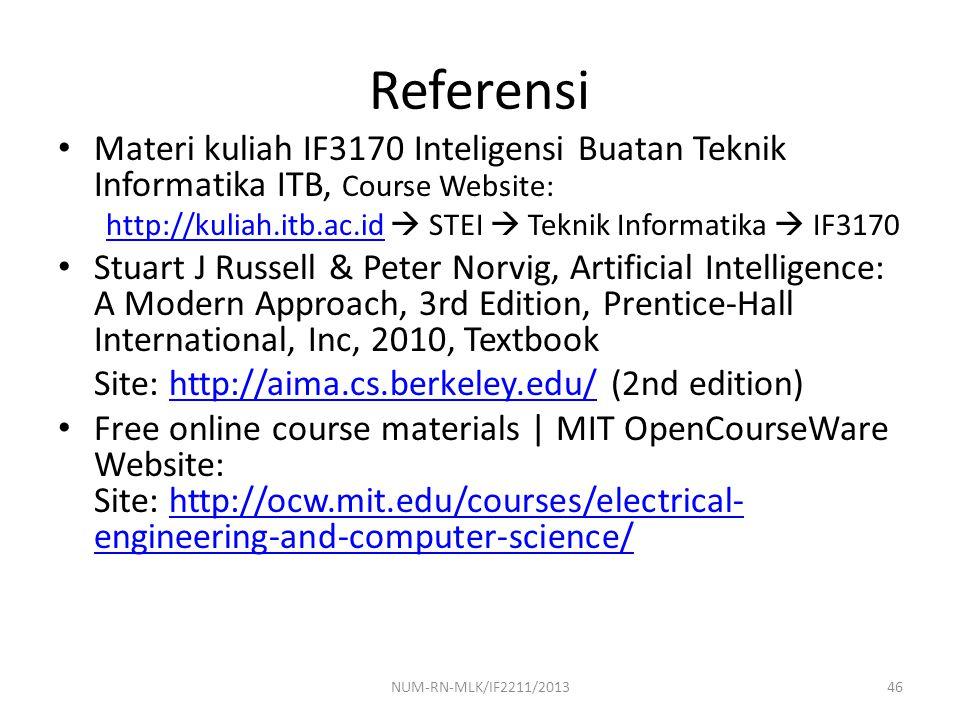 Referensi Materi kuliah IF3170 Inteligensi Buatan Teknik Informatika ITB, Course Website: