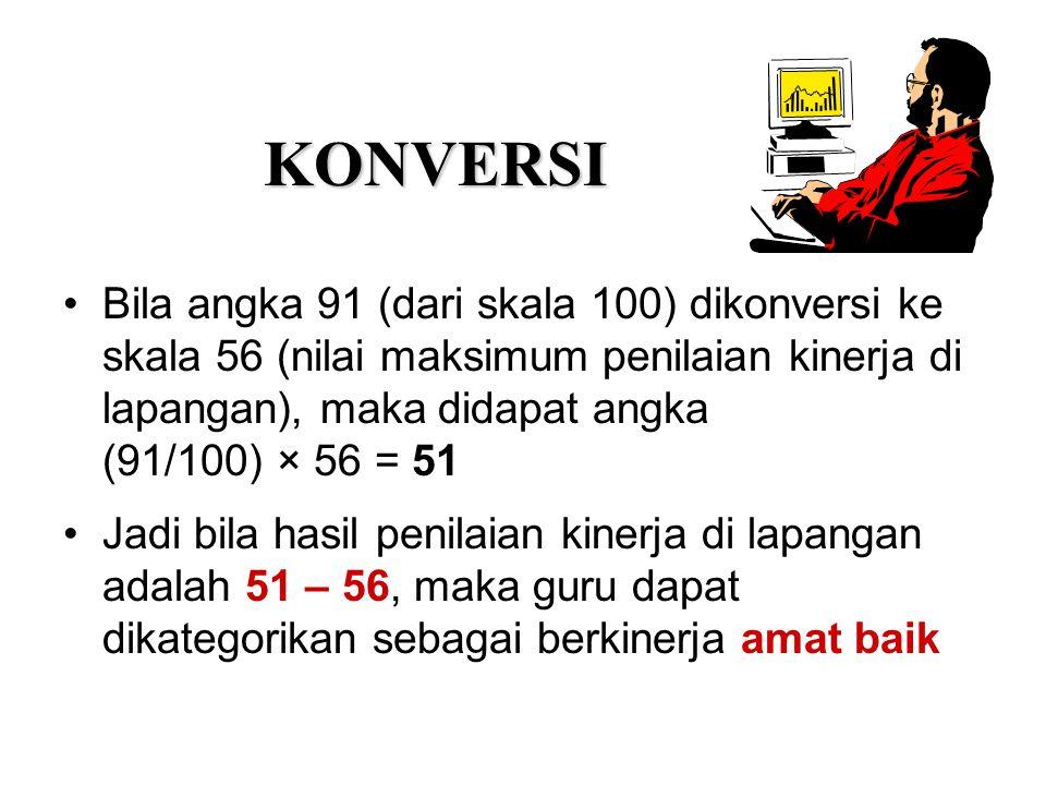 KONVERSI Bila angka 91 (dari skala 100) dikonversi ke skala 56 (nilai maksimum penilaian kinerja di lapangan), maka didapat angka.