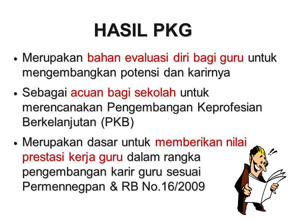 HASIL PKG Merupakan bahan evaluasi diri bagi guru untuk mengembangkan potensi dan karirnya.