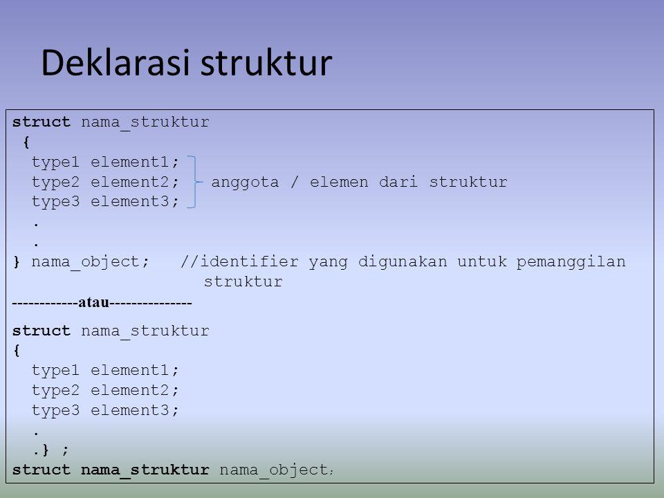 Deklarasi struktur struct nama_struktur { type1 element1;