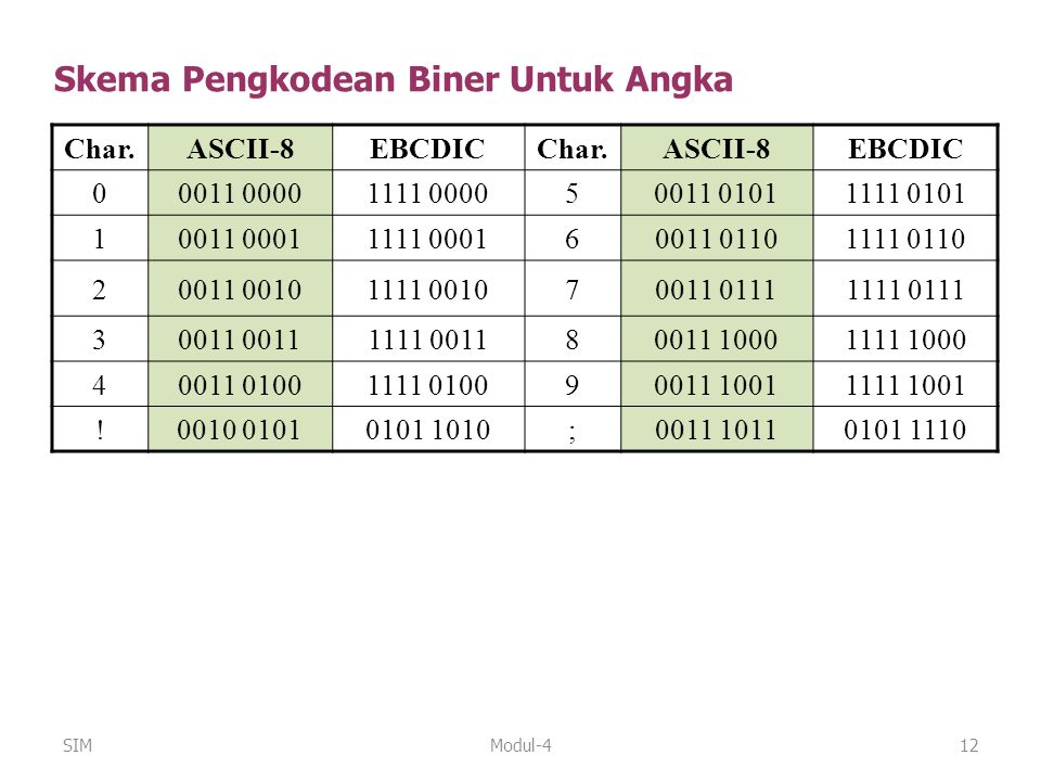 Skema Pengkodean Biner Untuk Angka