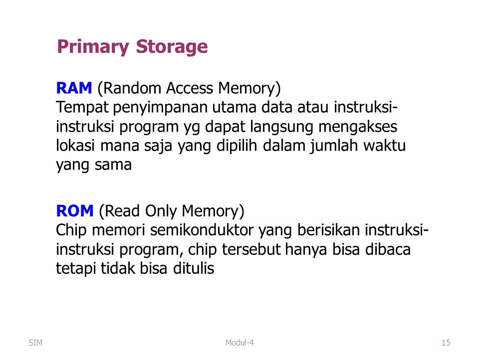 Primary Storage RAM (Random Access Memory)
