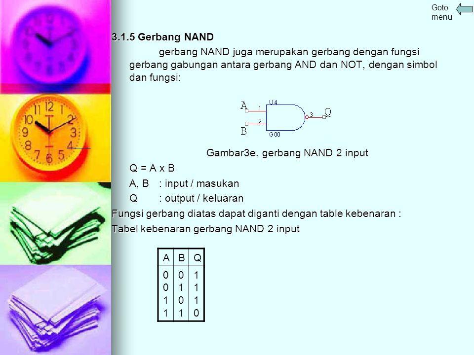 Gambar3e. gerbang NAND 2 input Q = A x B A, B : input / masukan