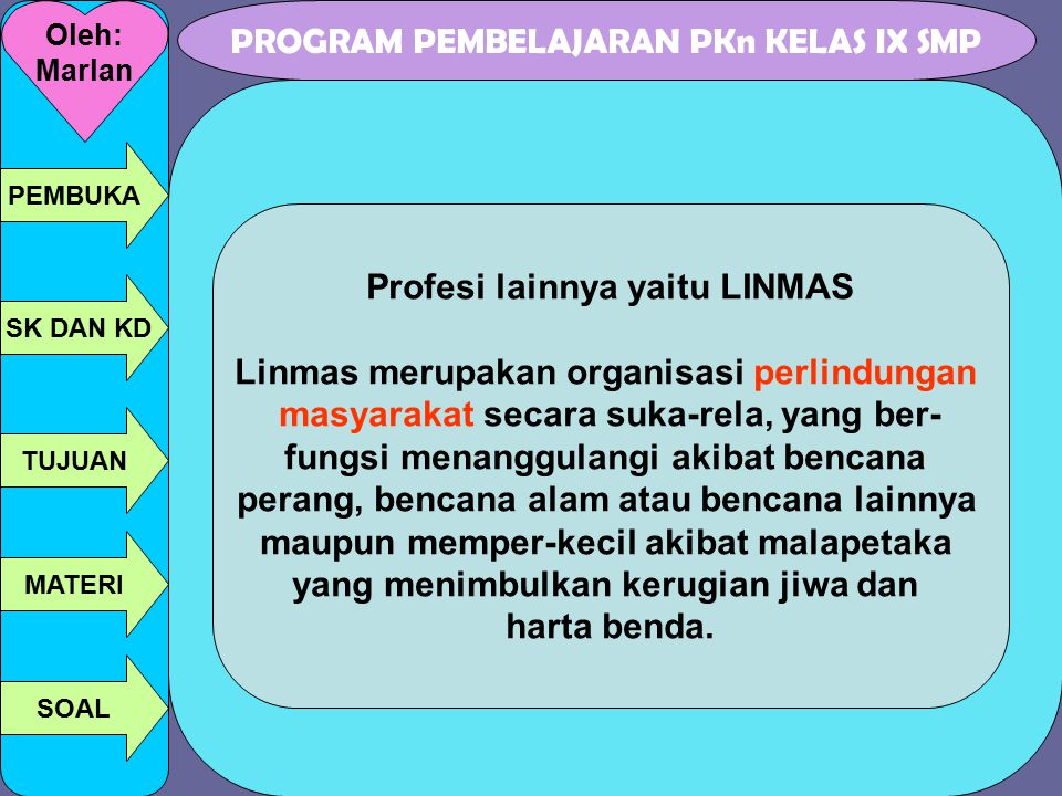 Profesi lainnya yaitu LINMAS Linmas merupakan organisasi perlindungan