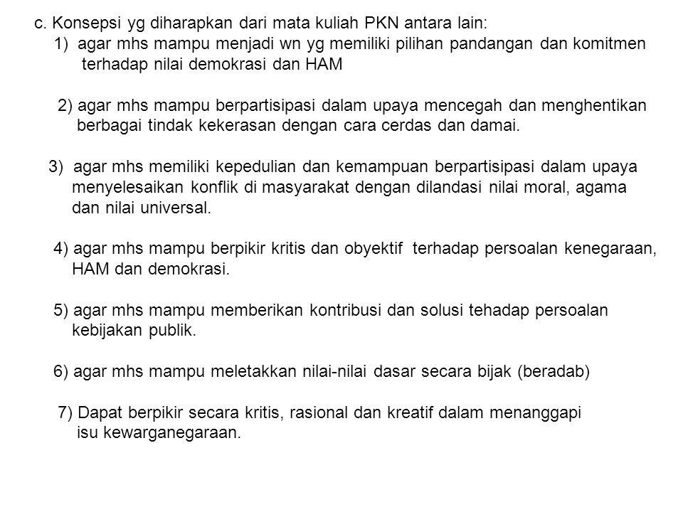 c. Konsepsi yg diharapkan dari mata kuliah PKN antara lain: