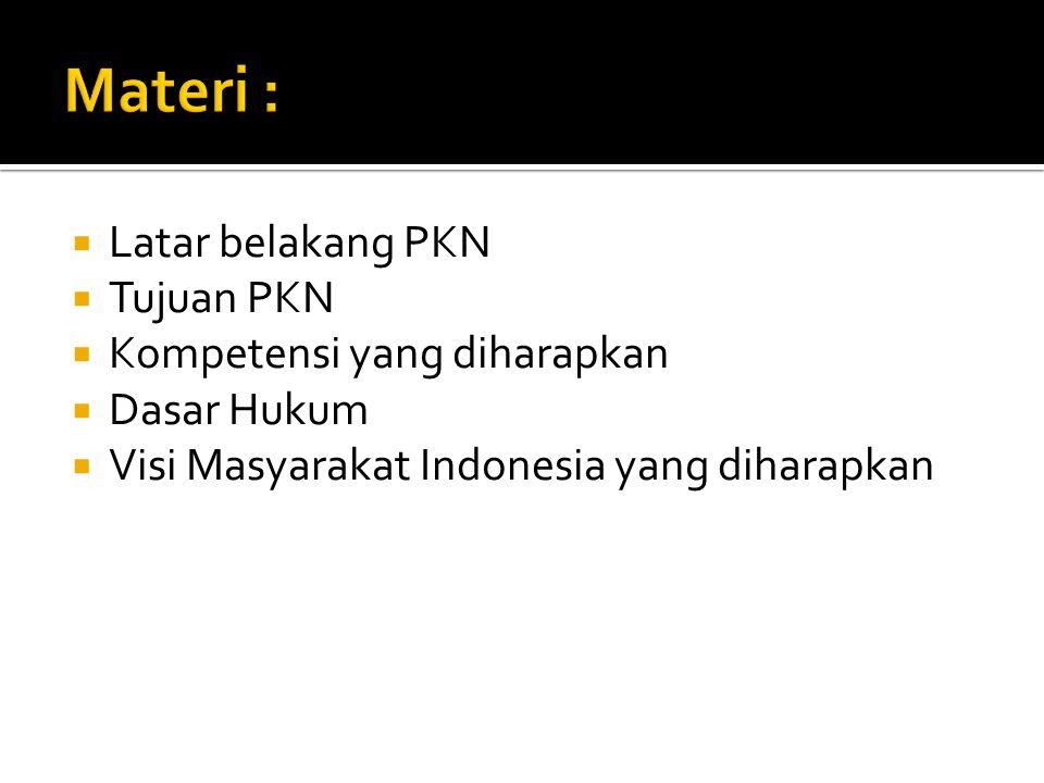 Materi : Latar belakang PKN Tujuan PKN Kompetensi yang diharapkan