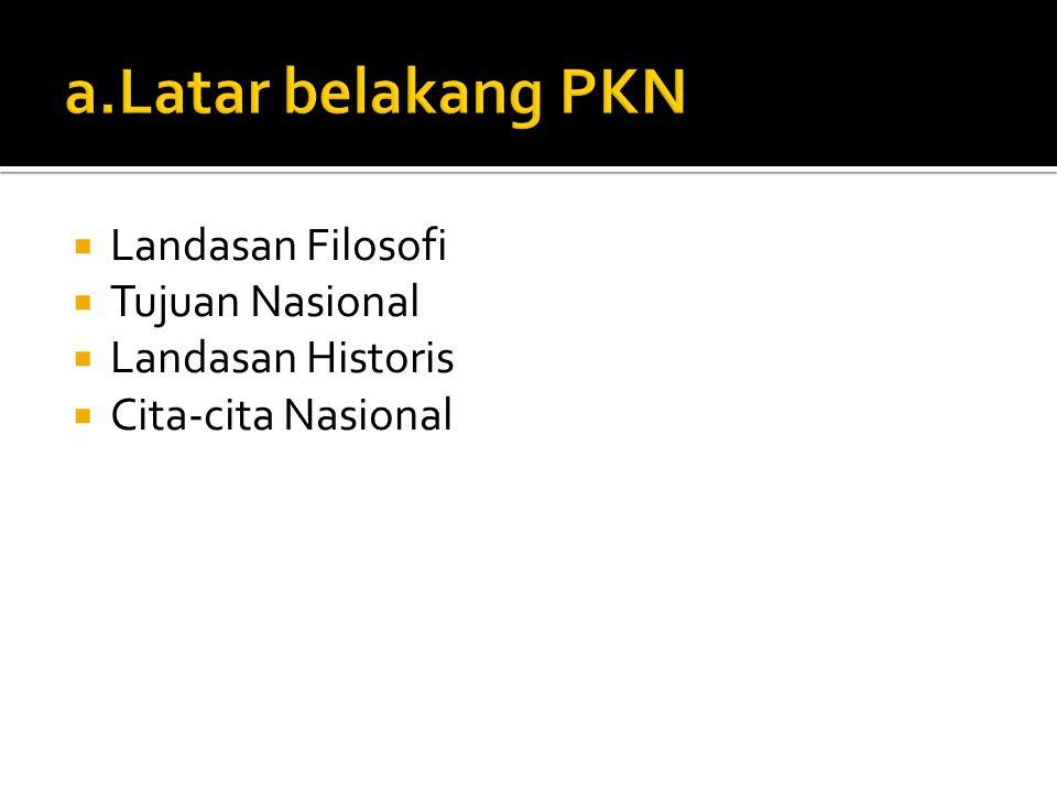 a.Latar belakang PKN Landasan Filosofi Tujuan Nasional