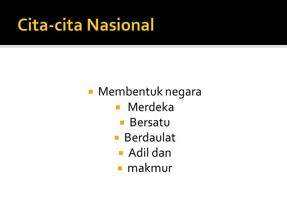 Cita-cita Nasional Membentuk negara Merdeka Bersatu Berdaulat Adil dan