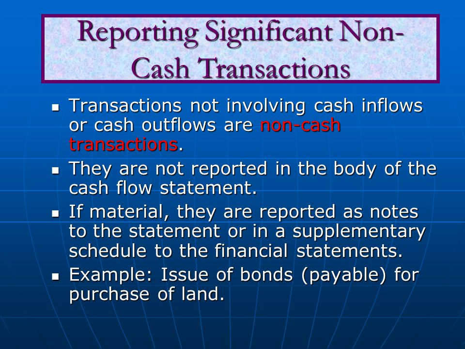Reporting Significant Non-Cash Transactions