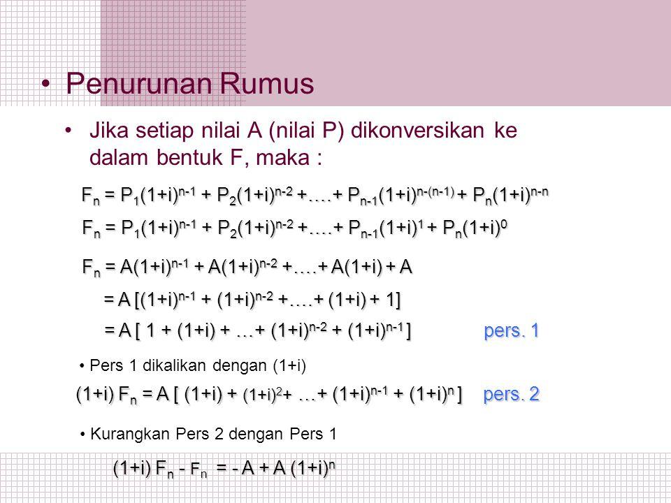 Penurunan Rumus Jika setiap nilai A (nilai P) dikonversikan ke dalam bentuk F, maka :