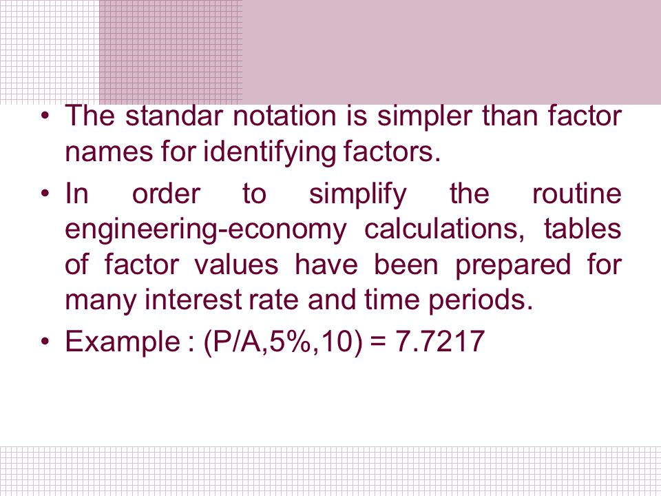 The standar notation is simpler than factor names for identifying factors.