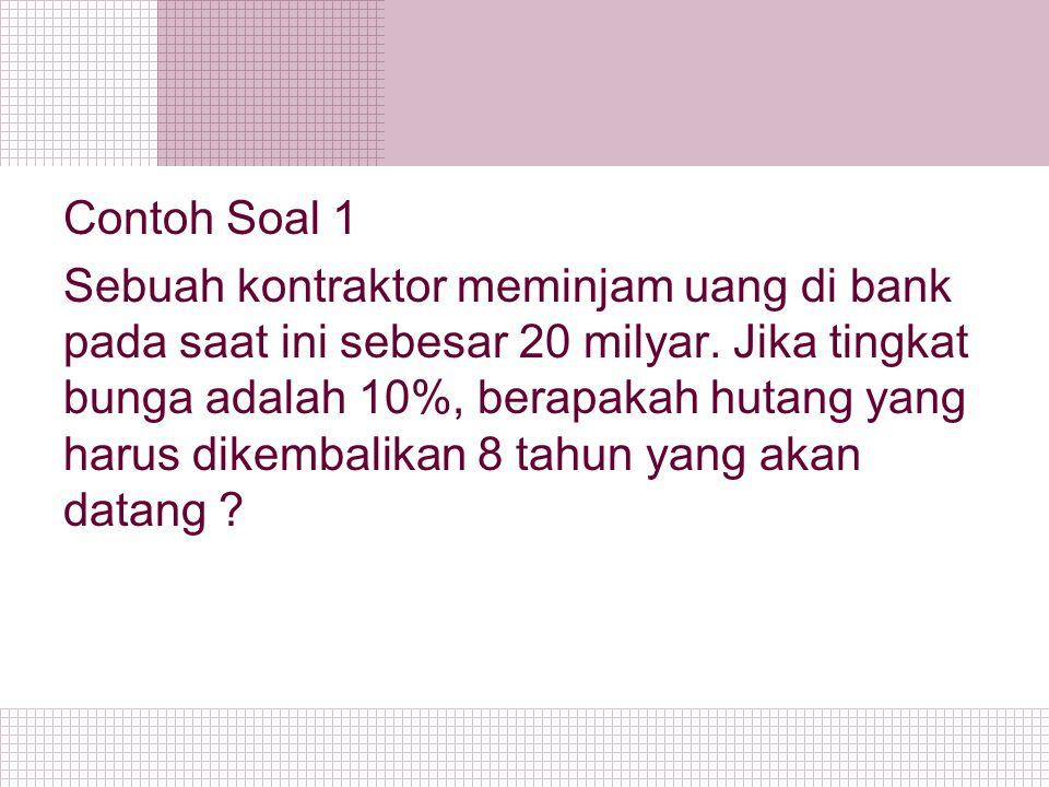Contoh Soal 1 Sebuah kontraktor meminjam uang di bank pada saat ini sebesar 20 milyar.