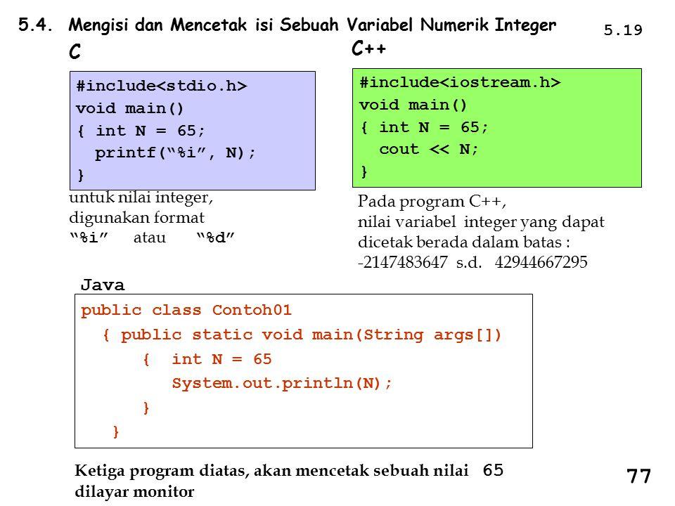 5.4. Mengisi dan Mencetak isi Sebuah Variabel Numerik Integer