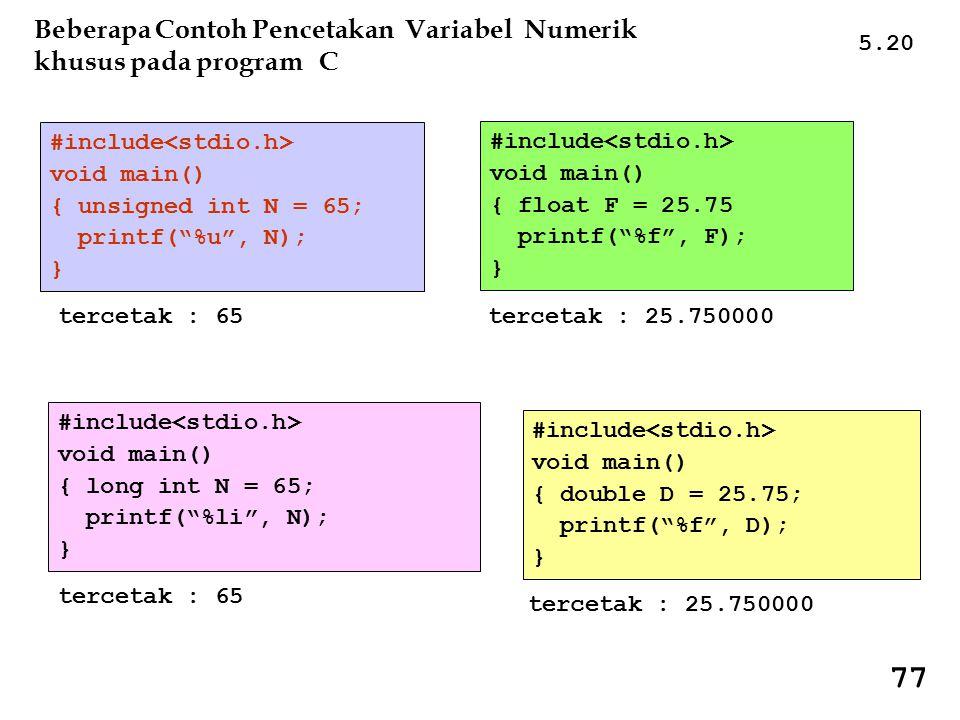 77 Beberapa Contoh Pencetakan Variabel Numerik khusus pada program C