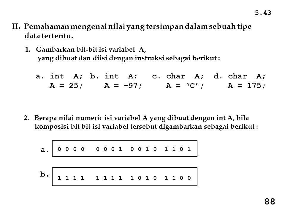 5.43 II. Pemahaman mengenai nilai yang tersimpan dalam sebuah tipe data tertentu. 1. Gambarkan bit-bit isi variabel A,