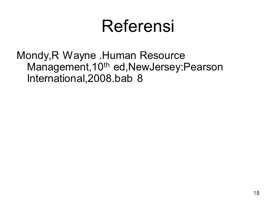 Referensi Mondy,R Wayne .Human Resource Management,10th ed,NewJersey:Pearson International,2008.bab 8.