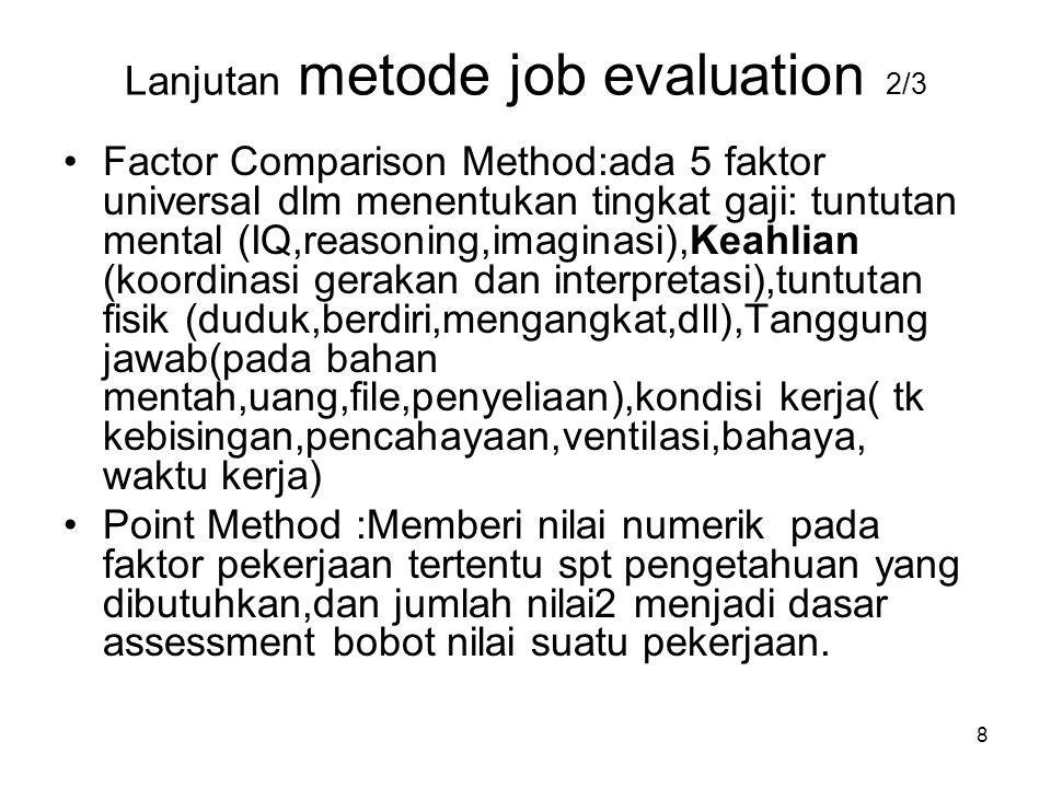 Lanjutan metode job evaluation 2/3