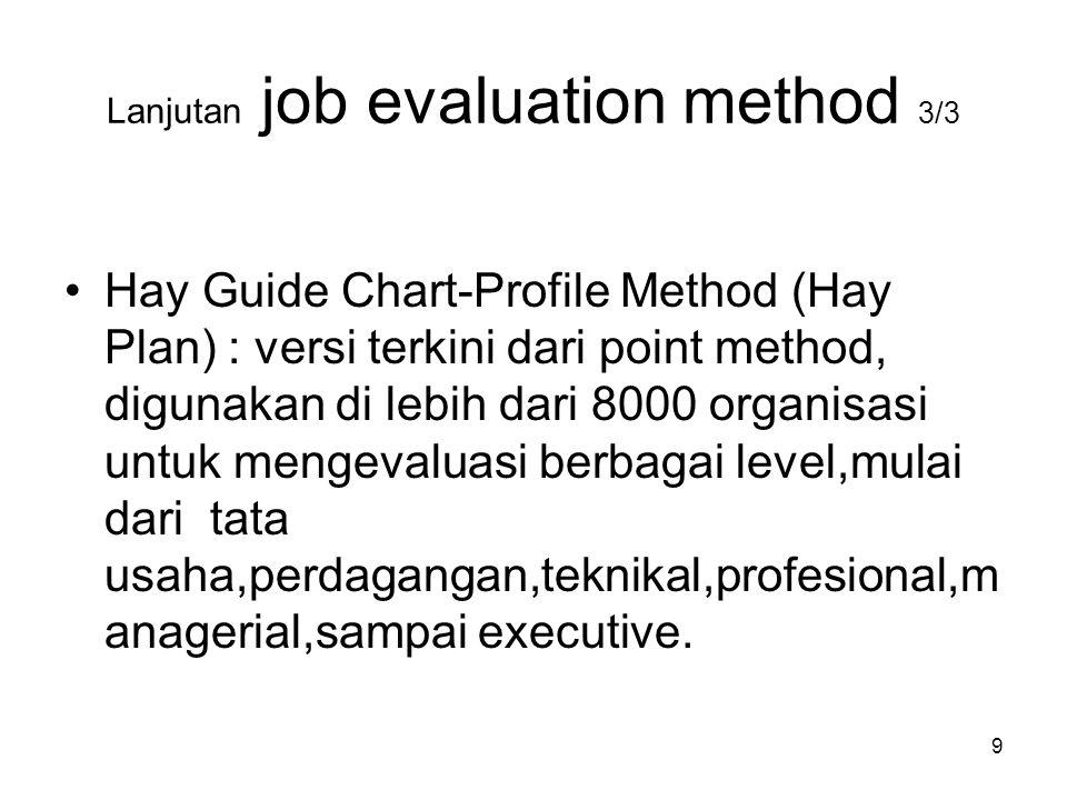 Lanjutan job evaluation method 3/3