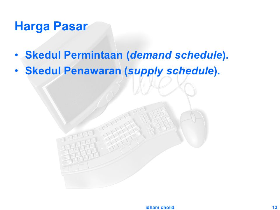 Harga Pasar Skedul Permintaan (demand schedule).