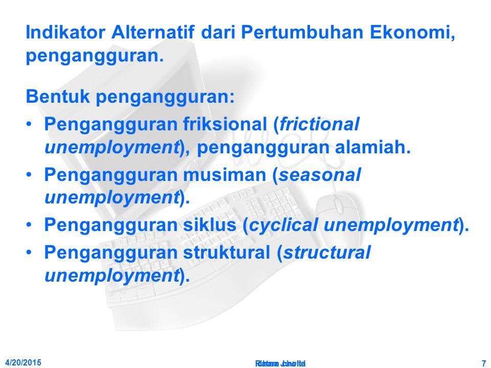 Indikator Alternatif dari Pertumbuhan Ekonomi, pengangguran.