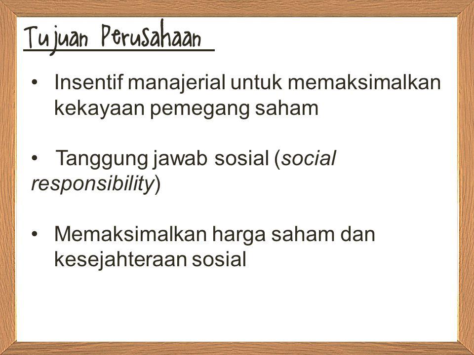 Tujuan Perusahaan Insentif manajerial untuk memaksimalkan kekayaan pemegang saham. Tanggung jawab sosial (social responsibility)