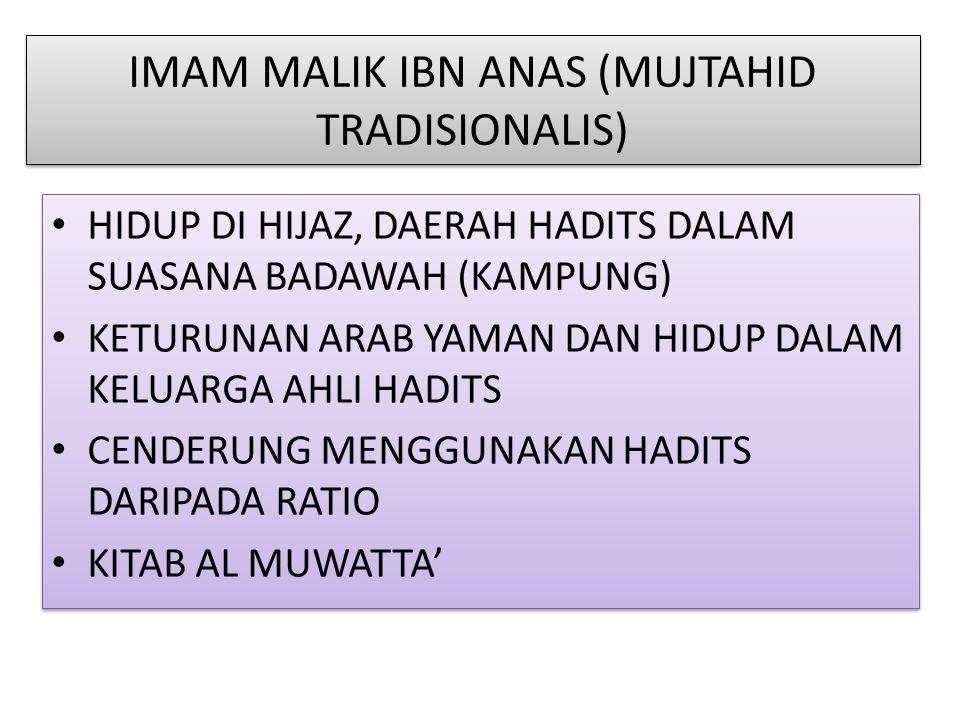 IMAM MALIK IBN ANAS (MUJTAHID TRADISIONALIS)