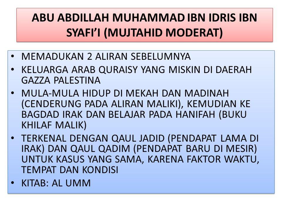 ABU ABDILLAH MUHAMMAD IBN IDRIS IBN SYAFI'I (MUJTAHID MODERAT)