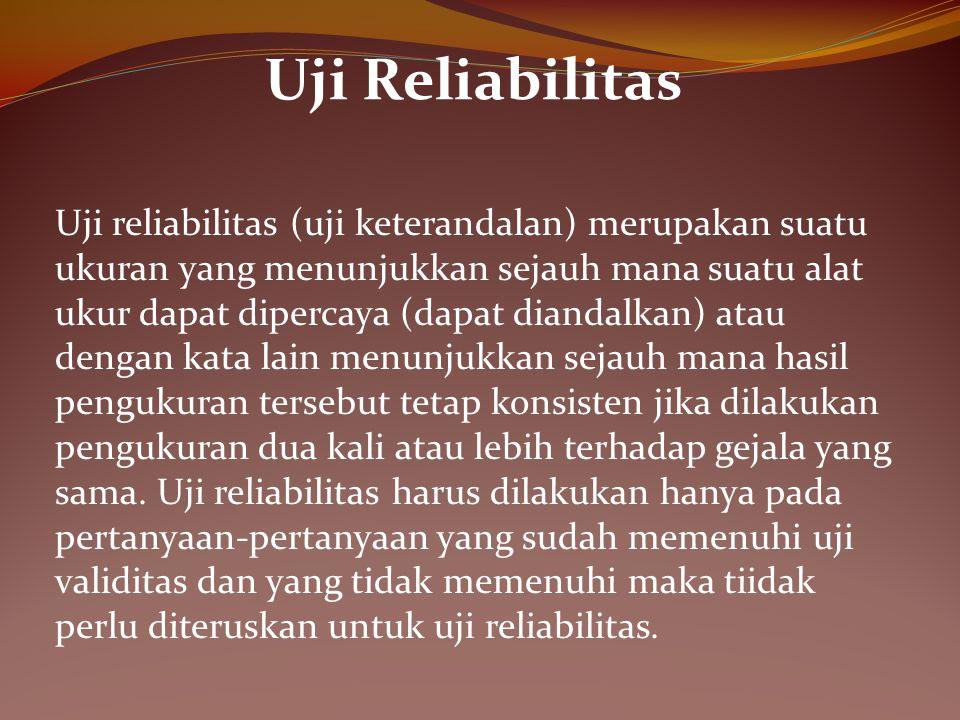 Uji Reliabilitas