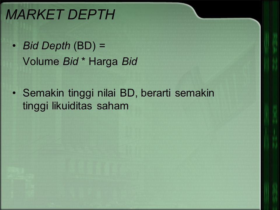 MARKET DEPTH Bid Depth (BD) = Volume Bid * Harga Bid