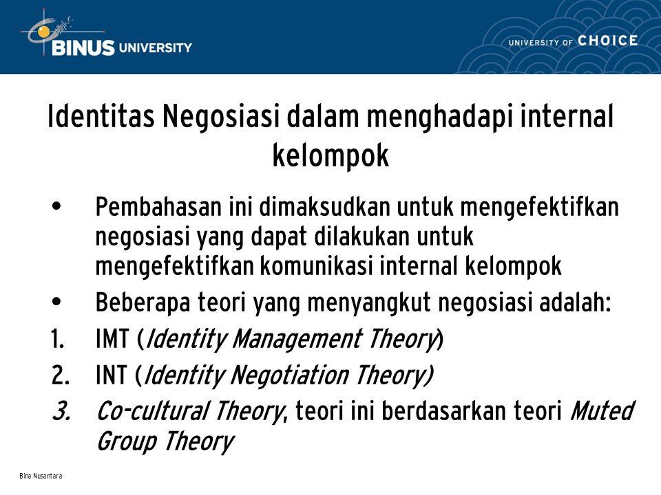 Identitas Negosiasi dalam menghadapi internal kelompok
