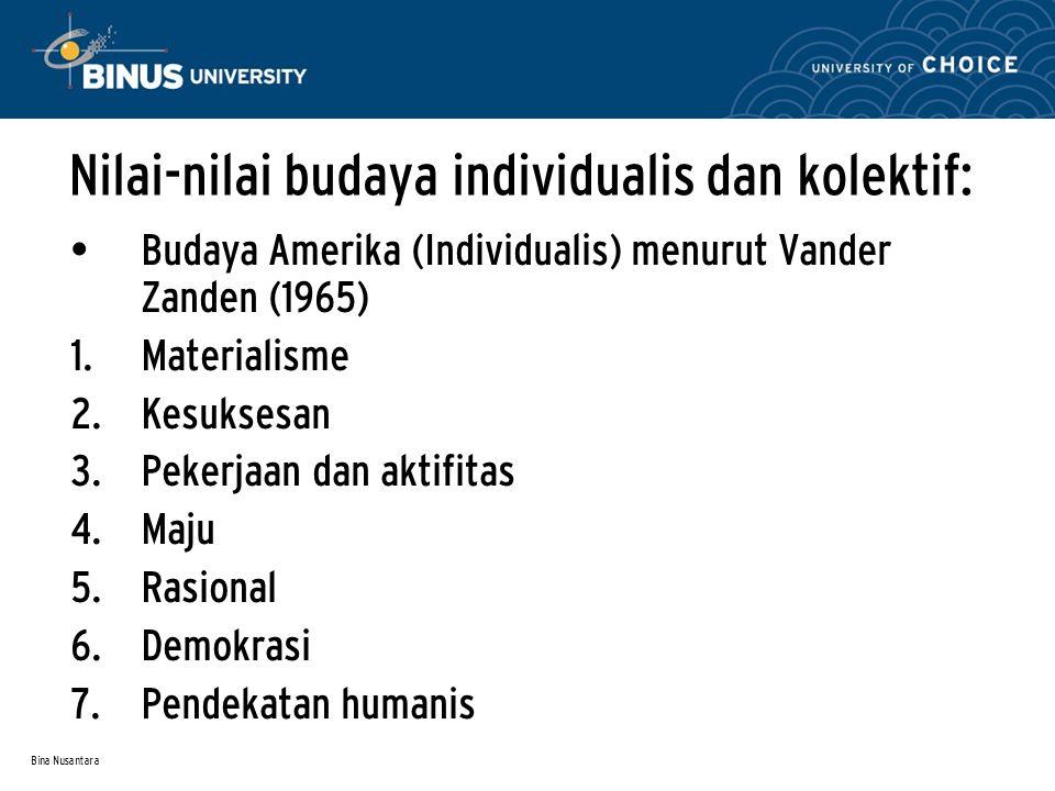 Nilai-nilai budaya individualis dan kolektif: