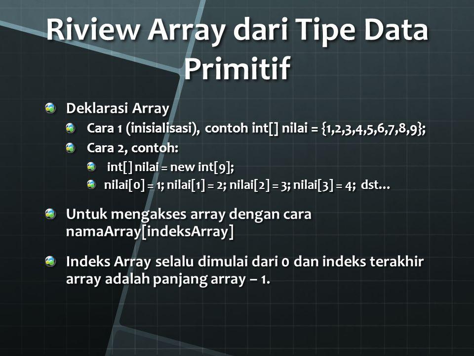 Riview Array dari Tipe Data Primitif