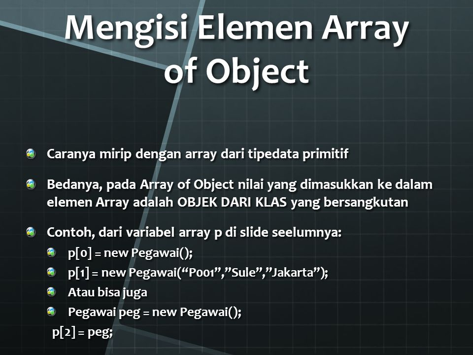 Mengisi Elemen Array of Object