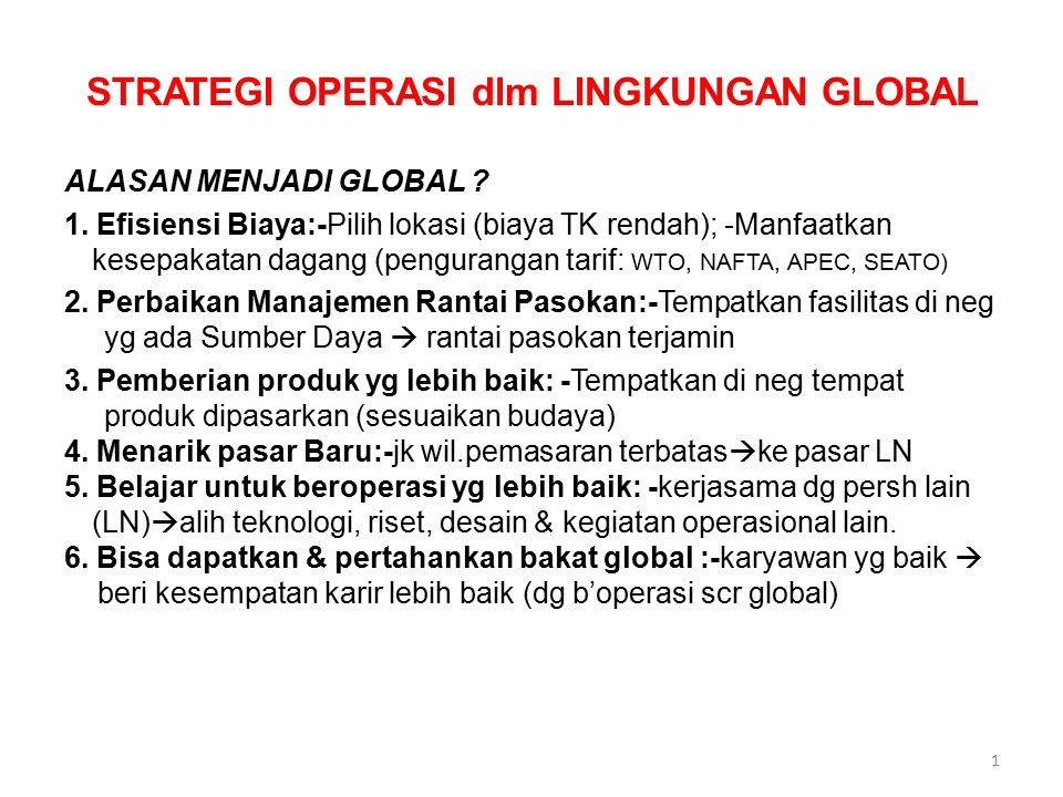 STRATEGI OPERASI dlm LINGKUNGAN GLOBAL