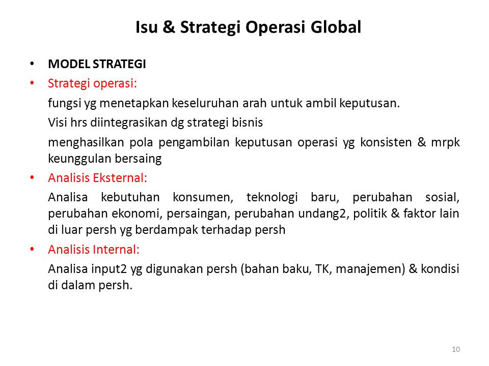 Isu & Strategi Operasi Global