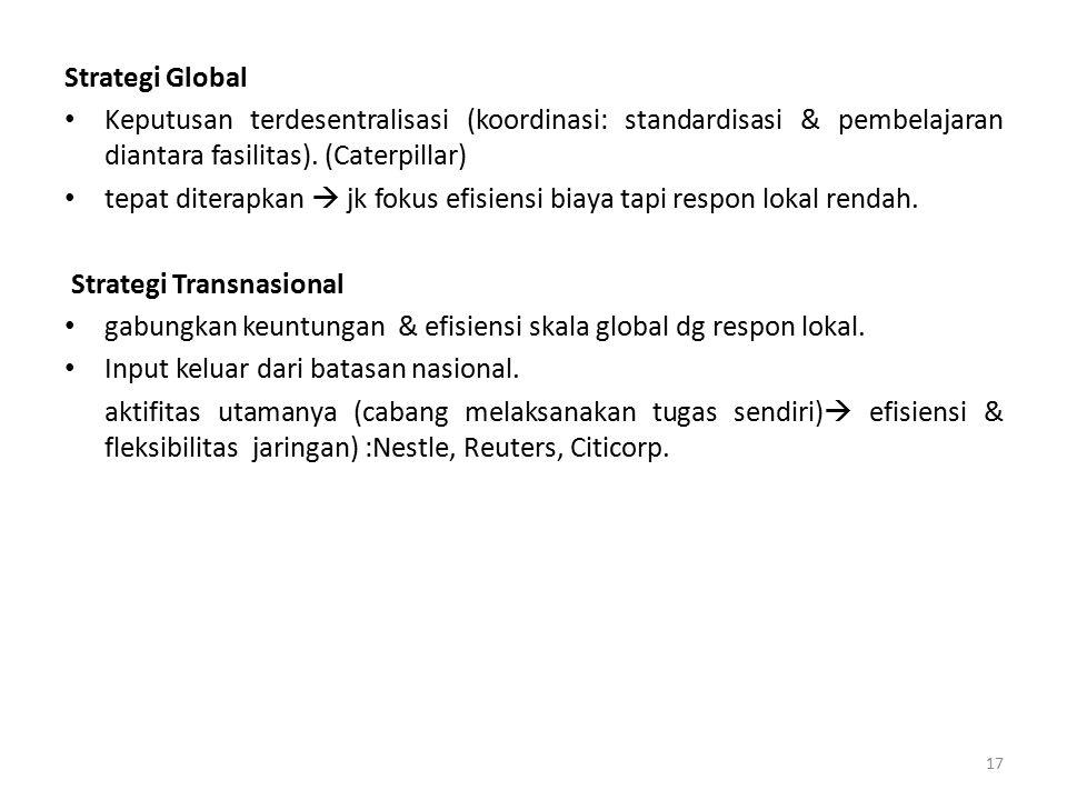 Strategi Global Keputusan terdesentralisasi (koordinasi: standardisasi & pembelajaran diantara fasilitas). (Caterpillar)