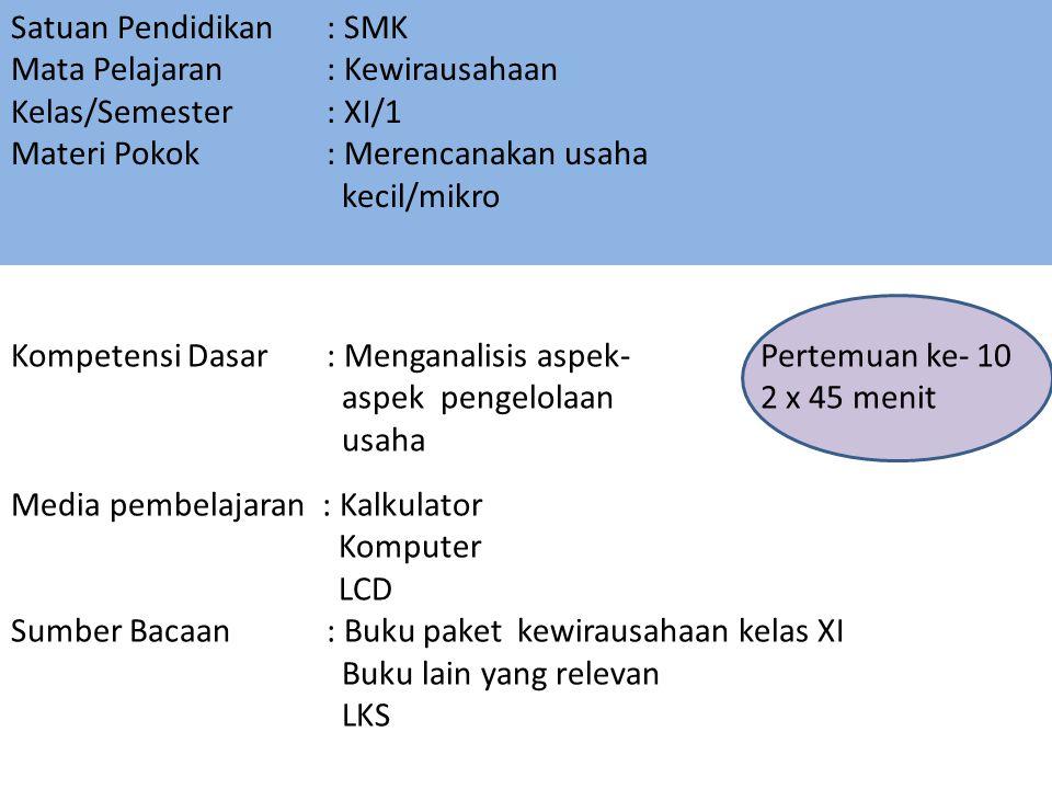 Satuan Pendidikan : SMK Mata Pelajaran : Kewirausahaan Kelas/Semester : XI/1 Materi Pokok : Merencanakan usaha kecil/mikro