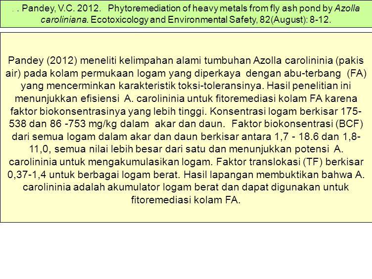 . . Pandey, V.C. 2012. Phytoremediation of heavy metals from fly ash pond by Azolla caroliniana. Ecotoxicology and Environmental Safety, 82(August): 8-12.