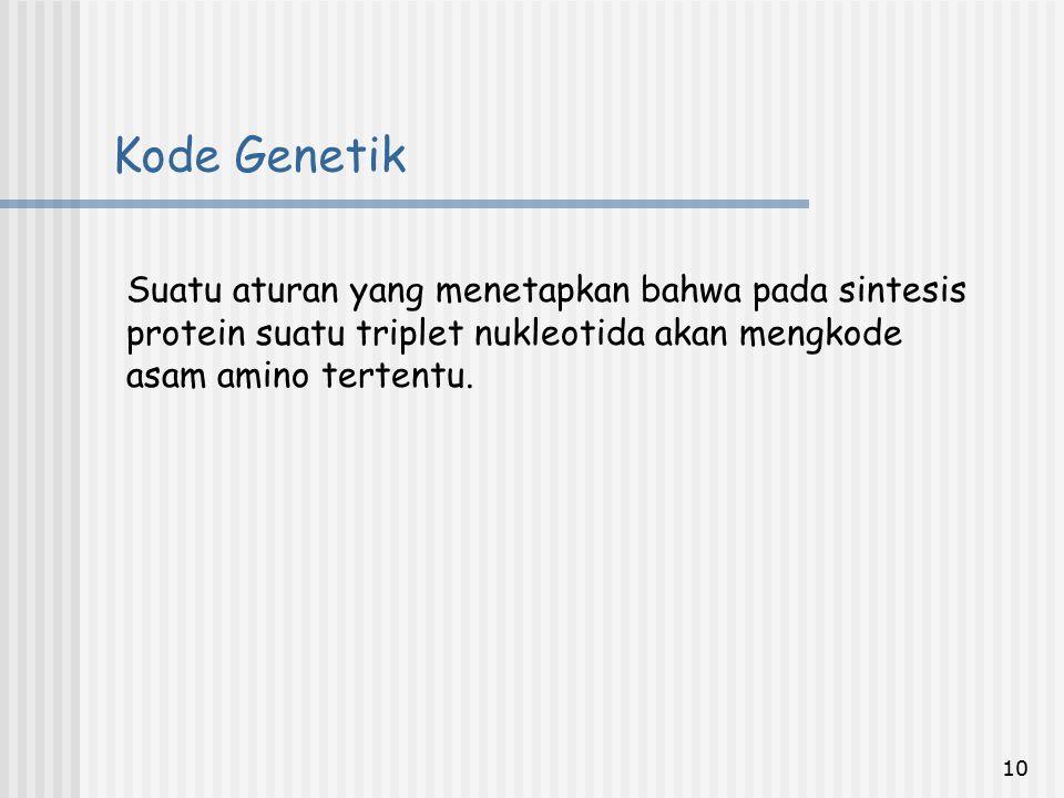 Kode Genetik Suatu aturan yang menetapkan bahwa pada sintesis