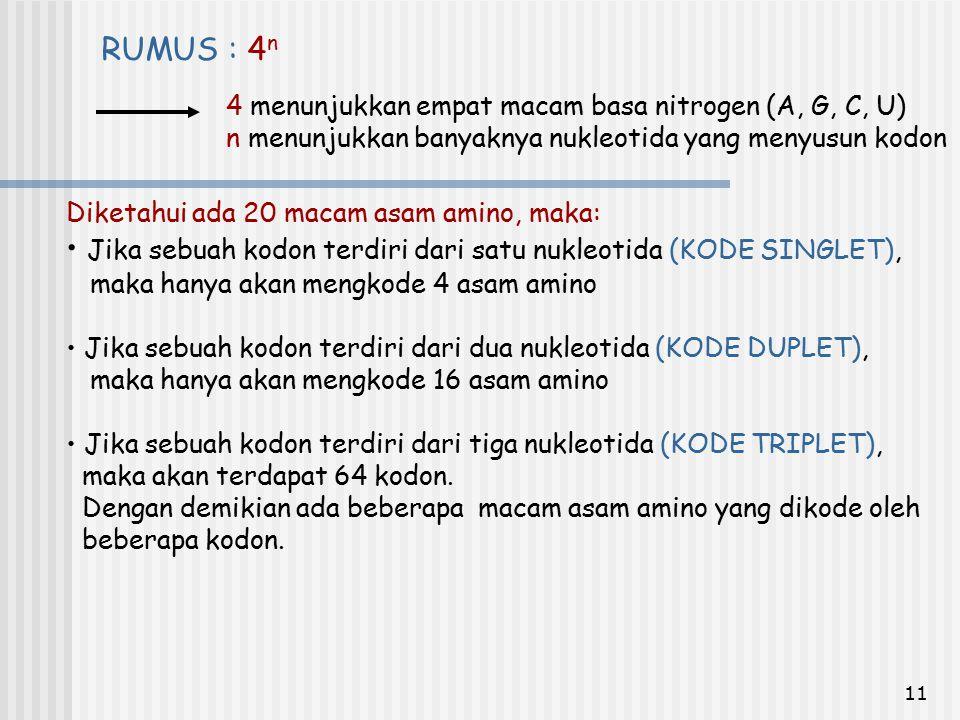 Jika sebuah kodon terdiri dari satu nukleotida (KODE SINGLET),