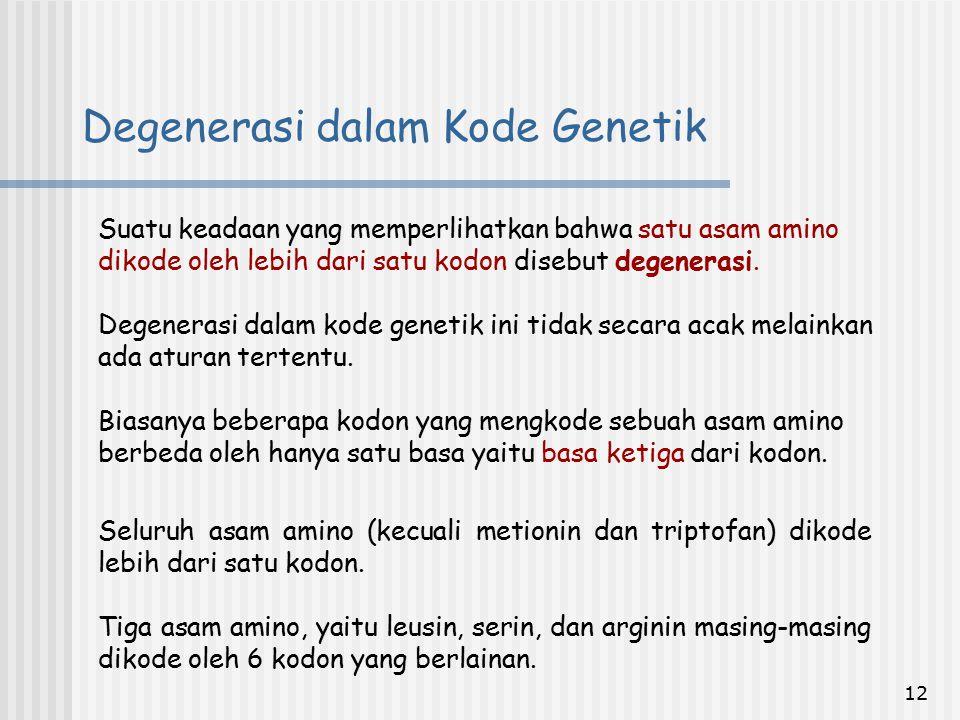 Degenerasi dalam Kode Genetik