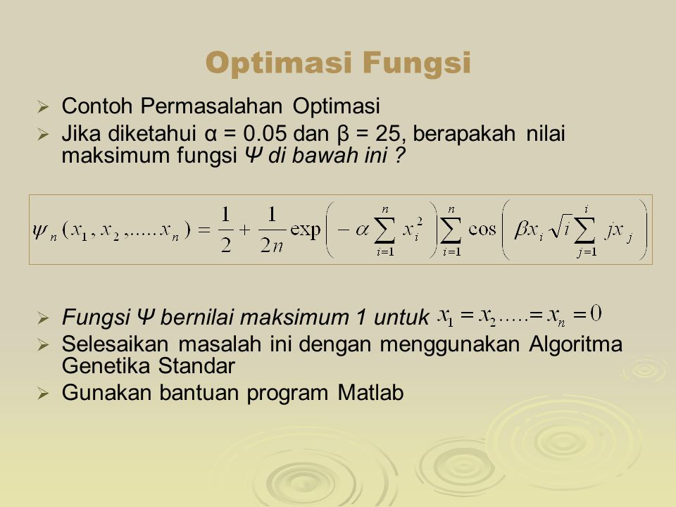 Optimasi Fungsi Contoh Permasalahan Optimasi